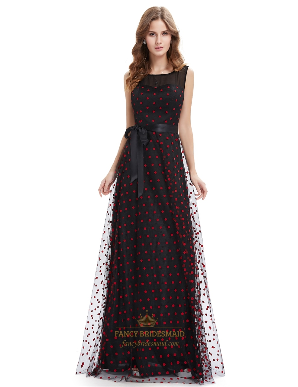 41e0787838fa Black And Red Polka Dot Sheer Illusion Neckline Maxi Dress With Sash SKU  -NW1616