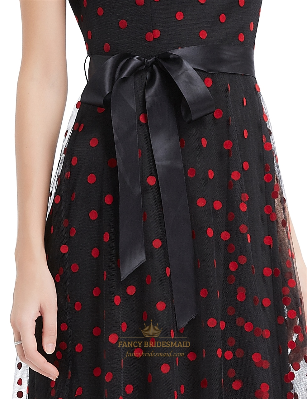 a2b792bf1ada Black And Red Polka Dot Sheer Illusion Neckline Maxi Dress With Sash ...