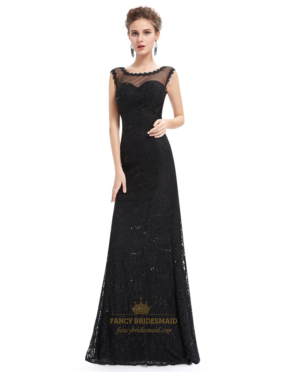 Black Floor Length Illusion Neck Prom Dress With Lace Applique ...