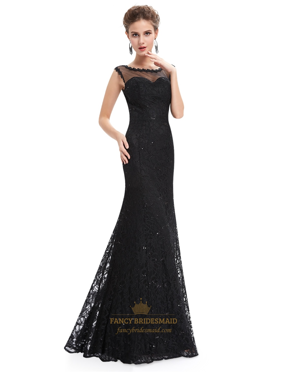 Black floor length illusion neck prom dress with lace for Floor length gowns