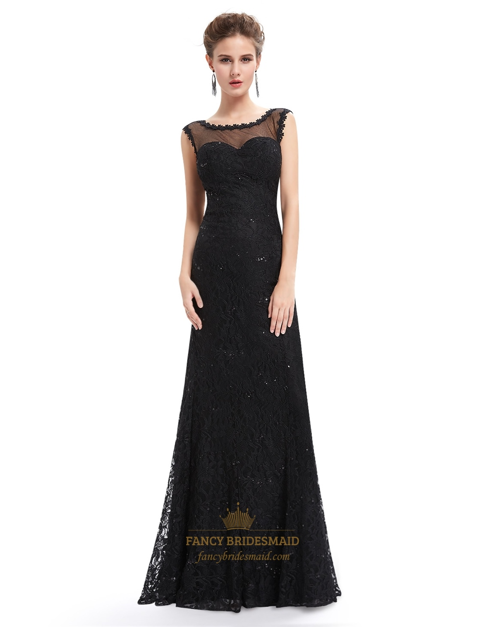 floor length black dress black floor length illusion neck prom dress with lace 702