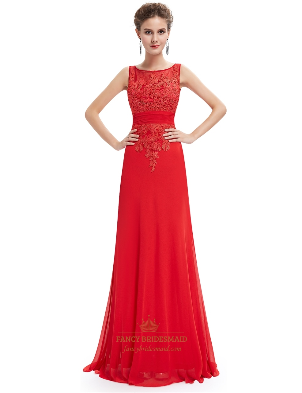 Red chiffon open back prom dress with beaded lace applique for Prom dress as wedding dress