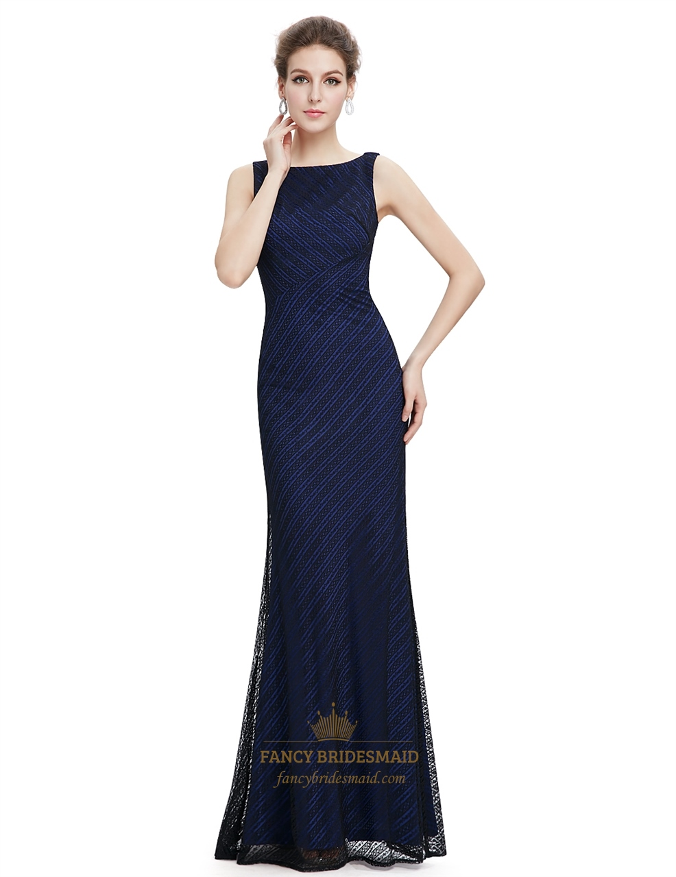 Navy blue lace mermaid long bridesmaid dress fancy for Blue long dress wedding