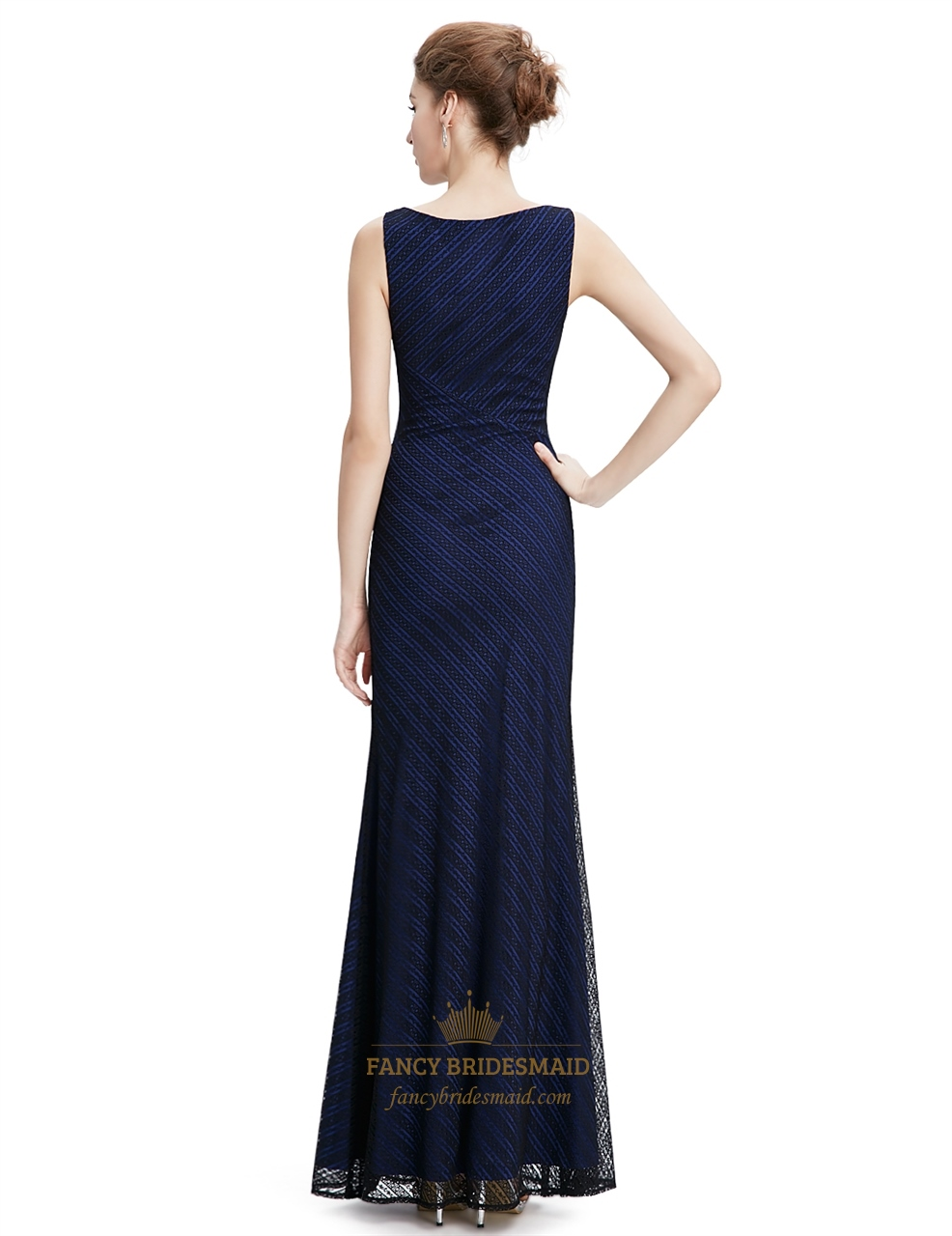 Navy blue lace mermaid long bridesmaid dress fancy for Blue lace wedding dress