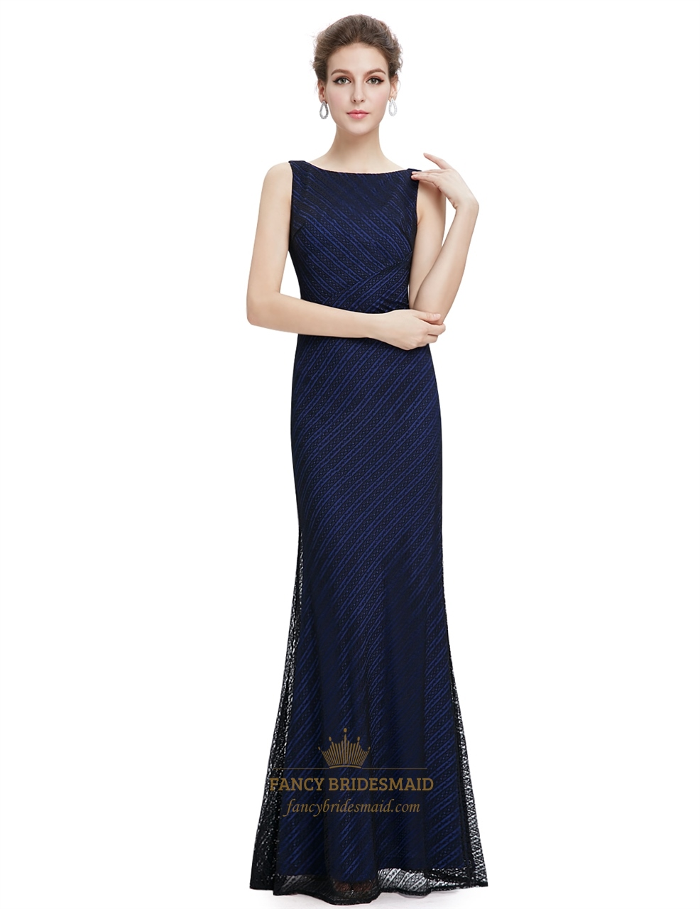 Navy blue lace mermaid long bridesmaid dress fancy for Long blue dress for wedding