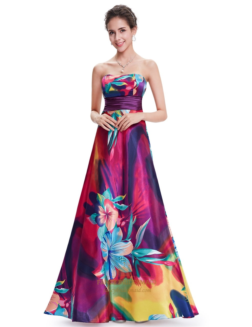 Multi Coloured Floor Length Floral Print Open Back Day