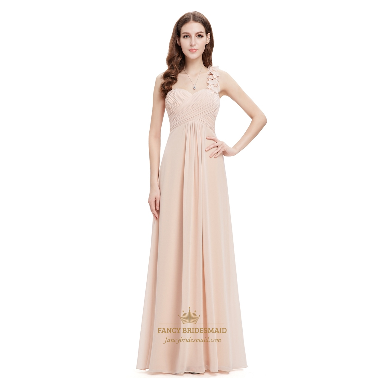 Chiffon One Shoulder Champagne Bridesmaid Dresses