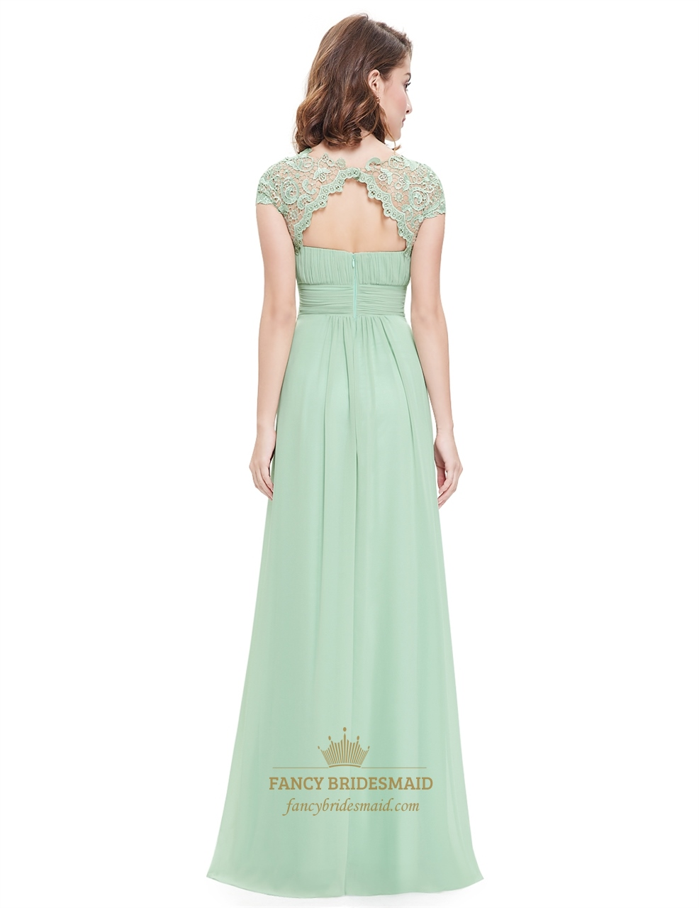 Mint green illusion neckline prom dresses with lace for Mint bridesmaid dresses wedding