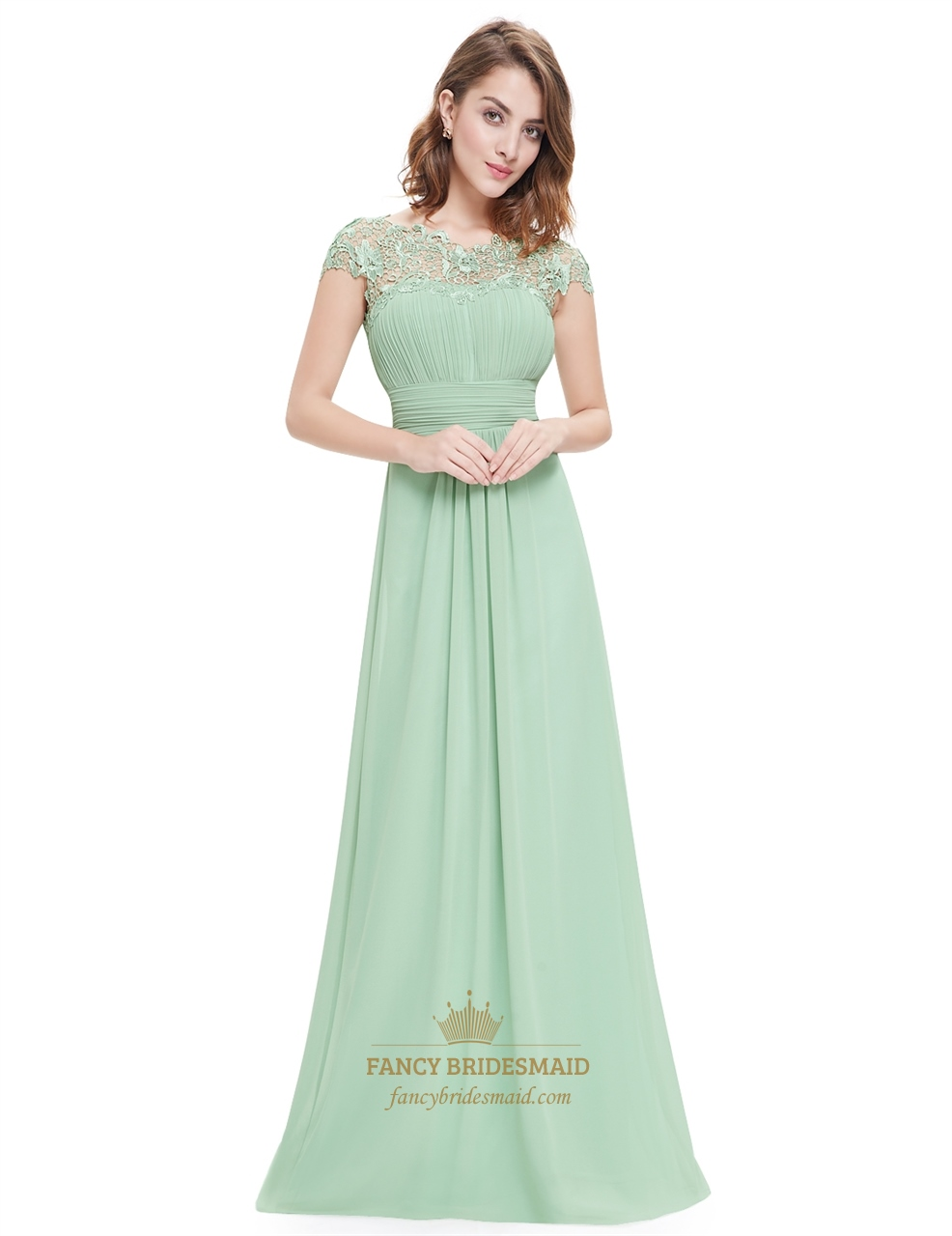 Mint Green Illusion Neckline Prom Dresses With Lace