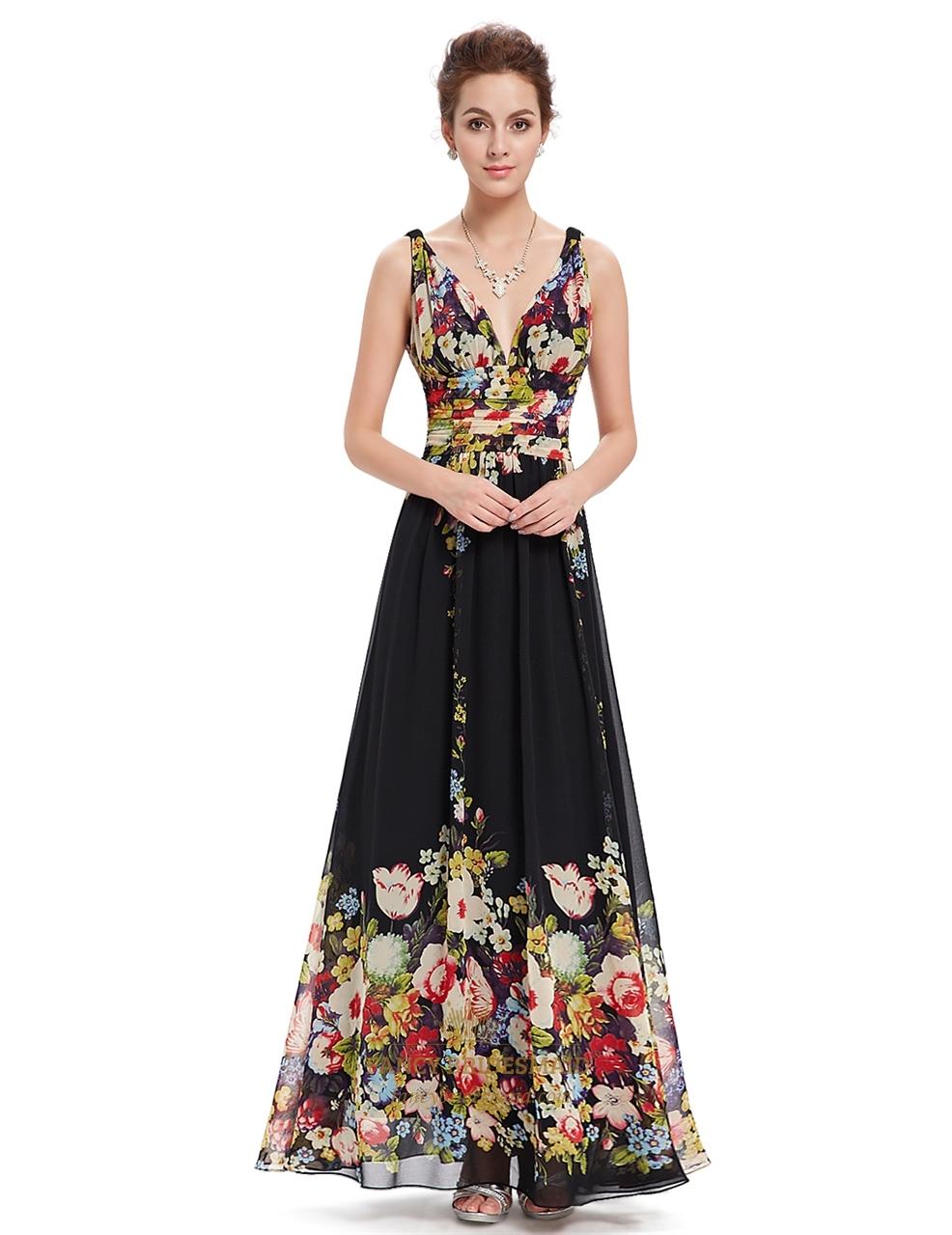 aa4f42a72f5 Black Deep V-Neck Floral Print Long Chiffon Prom Dresses SKU -NW1634