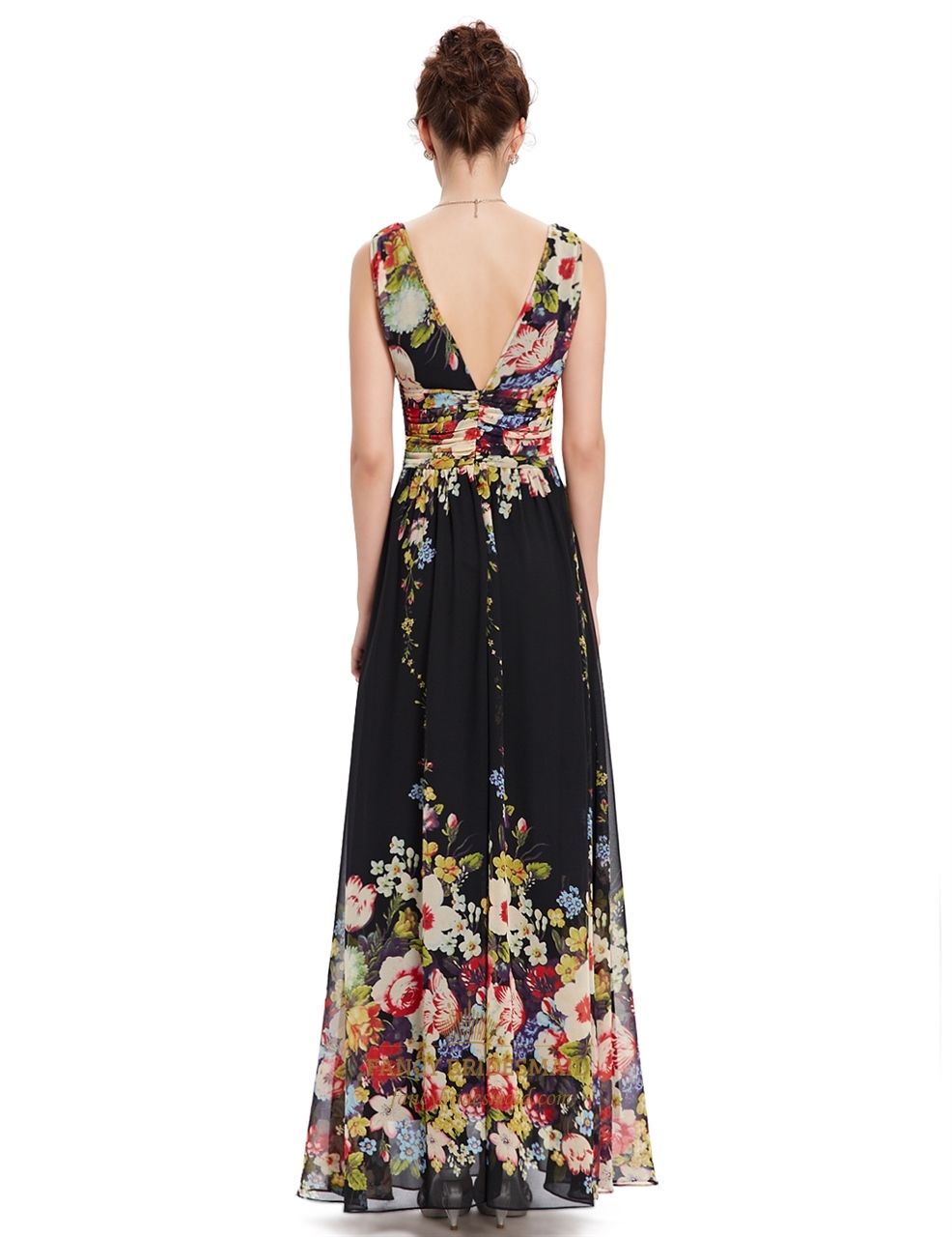 Black Deep V Neck Floral Print Long Chiffon Prom Dresses