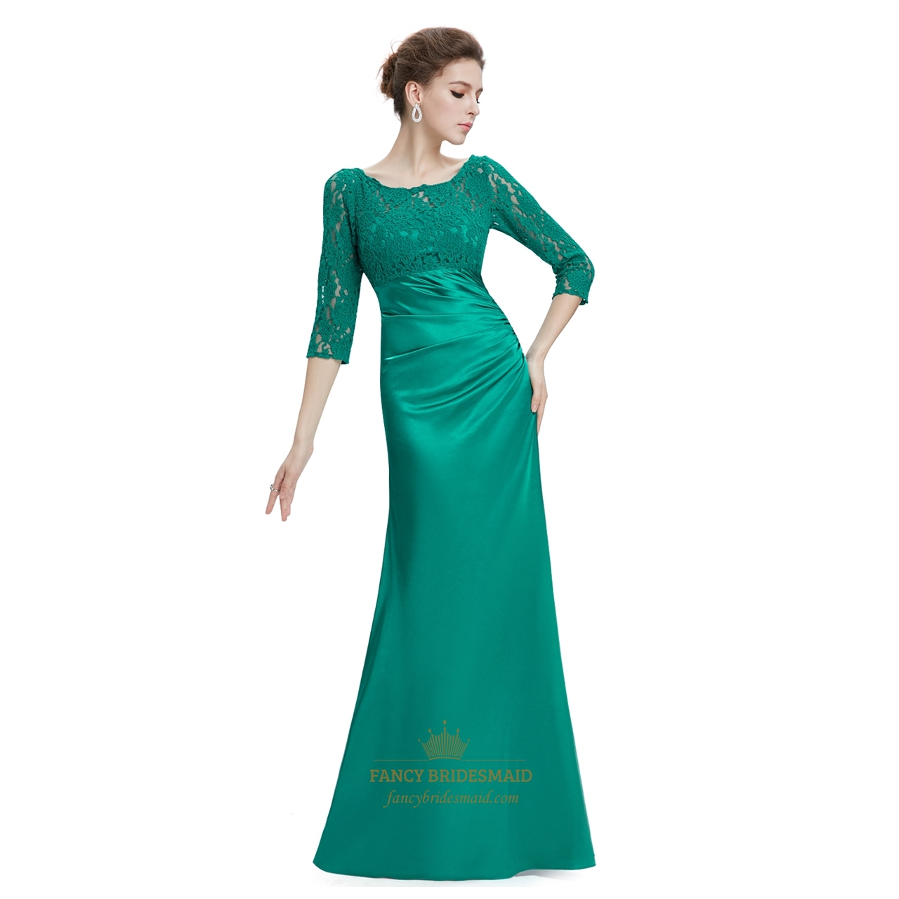 Emerald Green 3/4 Sleeves Illusion Neckline Prom Dresses With Lace ...