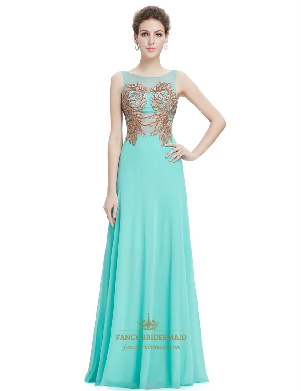 Mint green sleeveless chiffon prom dress with gold accents for Mint and gold wedding dress