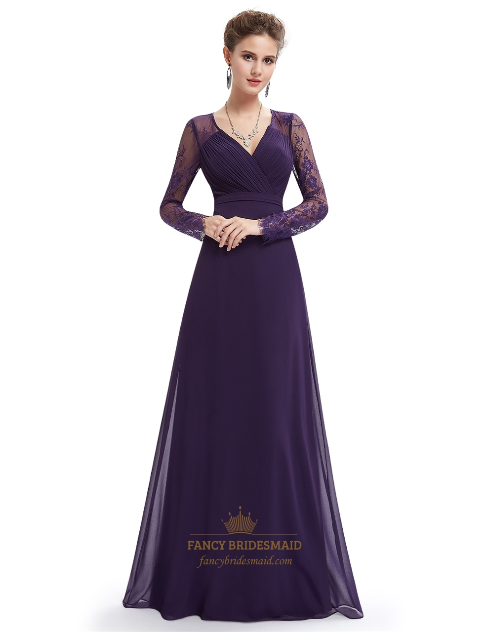 5ca8ee959180 Purple Prom Dresses With Sleeves