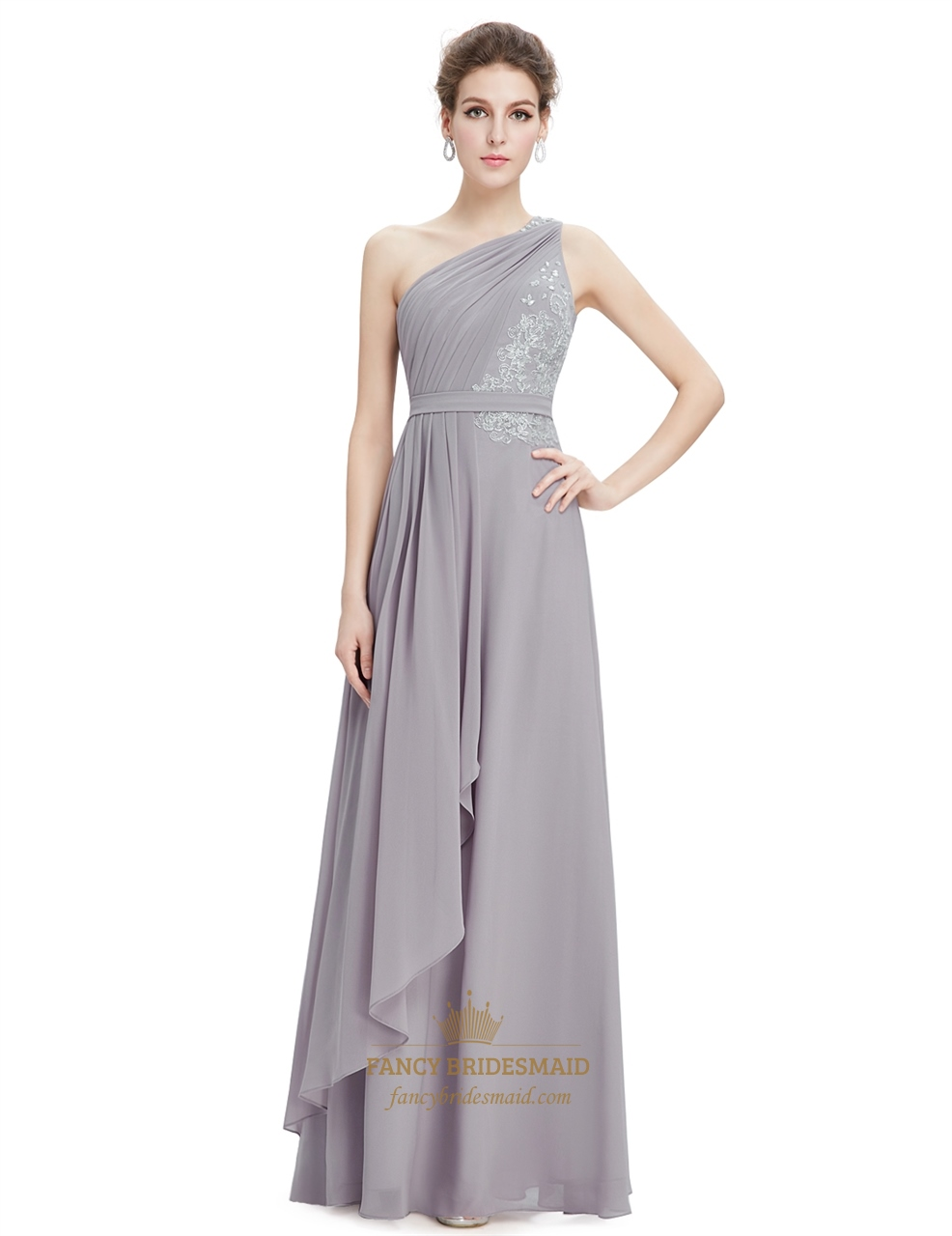 Designed with elegant chiffon tiers and a sweet one-shoulder style, Adrianna Papell's dress lends plenty of romance all night long. A satiny ribbon at the waist cinches in your shape. Hidden back zipper with hook-and-eye closure.