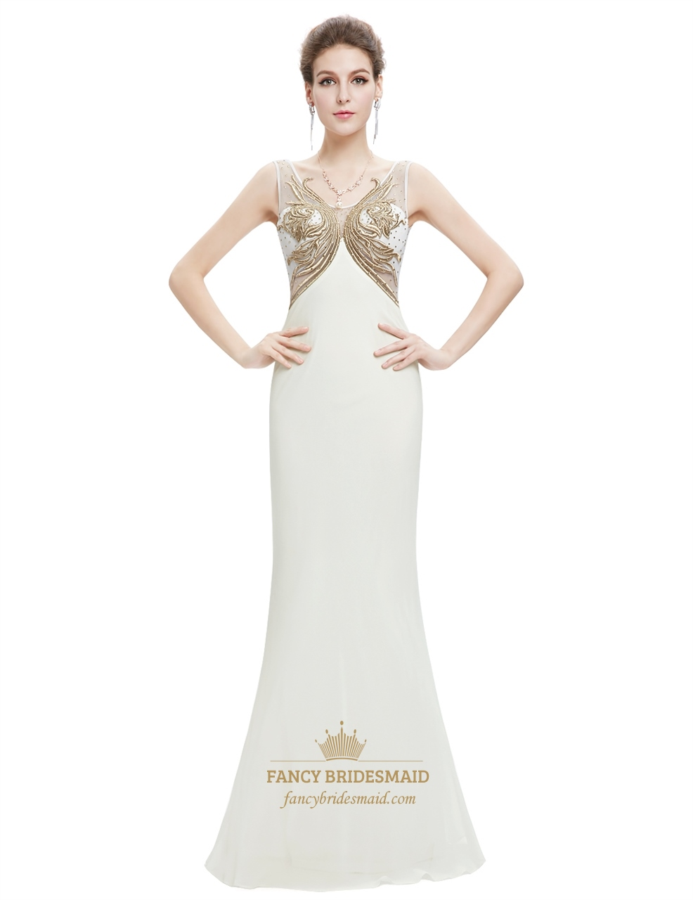 Ivory Chiffon Mermaid Sheer Back Prom Dress With ...
