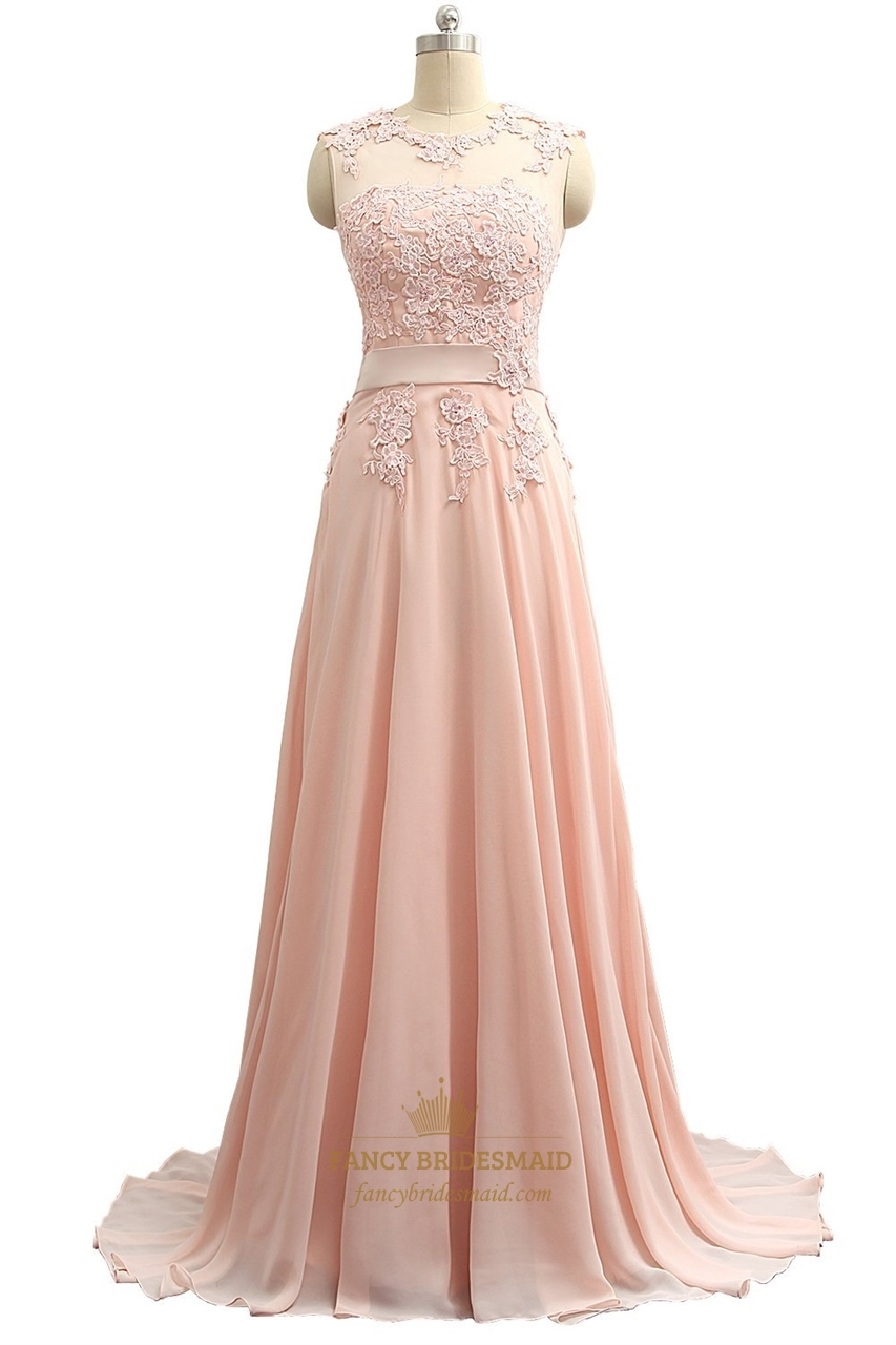 dda44d1870605 Floor Length Illusion Neckline Chiffon Prom Dress With Lace Bodice SKU -P004