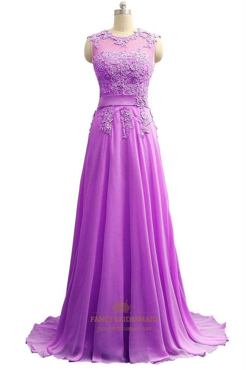 Floor Length Illusion Neckline Chiffon Prom Dress With