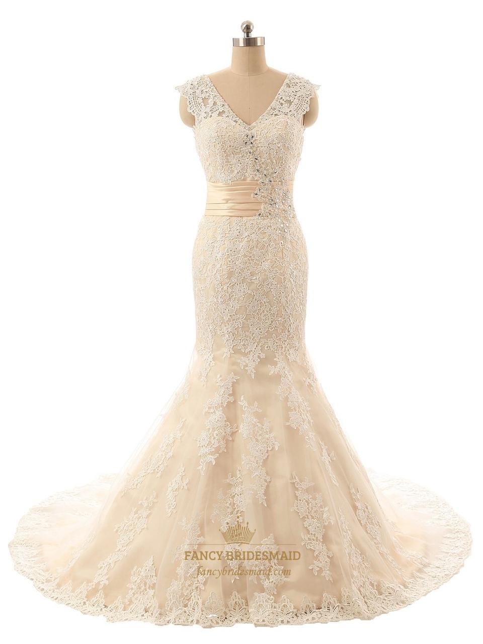 Champagne Sleeveless V Neck Lace Mermaid Wedding Dress