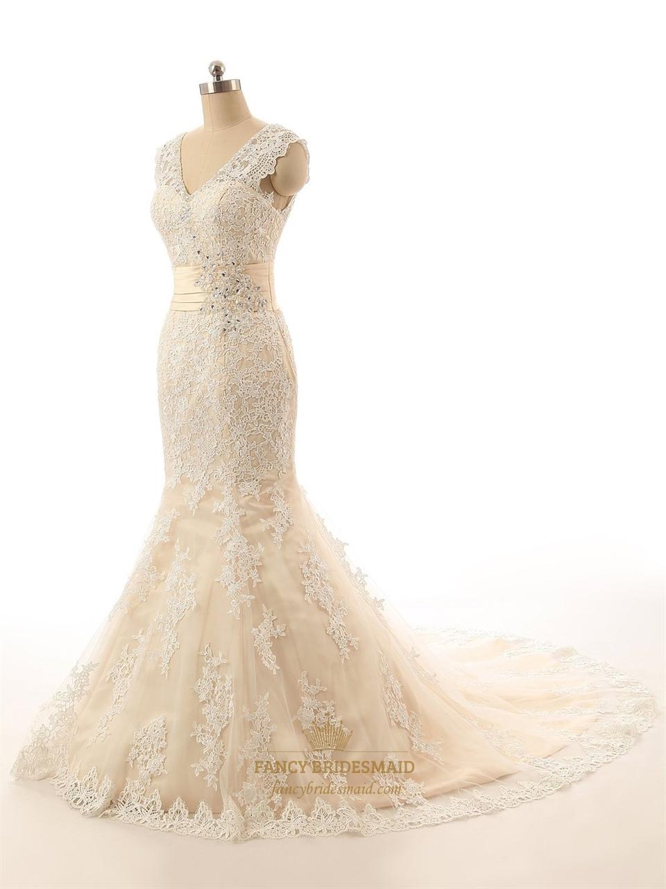 Champagne sleeveless v neck lace mermaid wedding dress for Mermaid v neck wedding dress