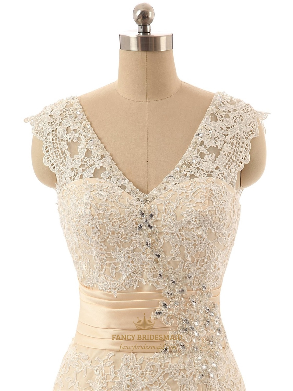 champagne sleeveless vneck lace mermaid wedding dress