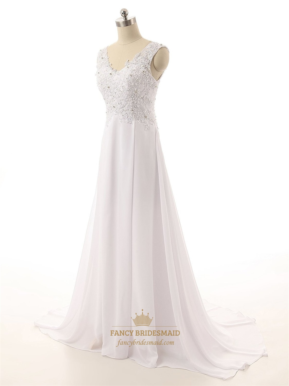 Long strapless v neck lace back sheer straps wedding dress for Long strapless wedding dresses