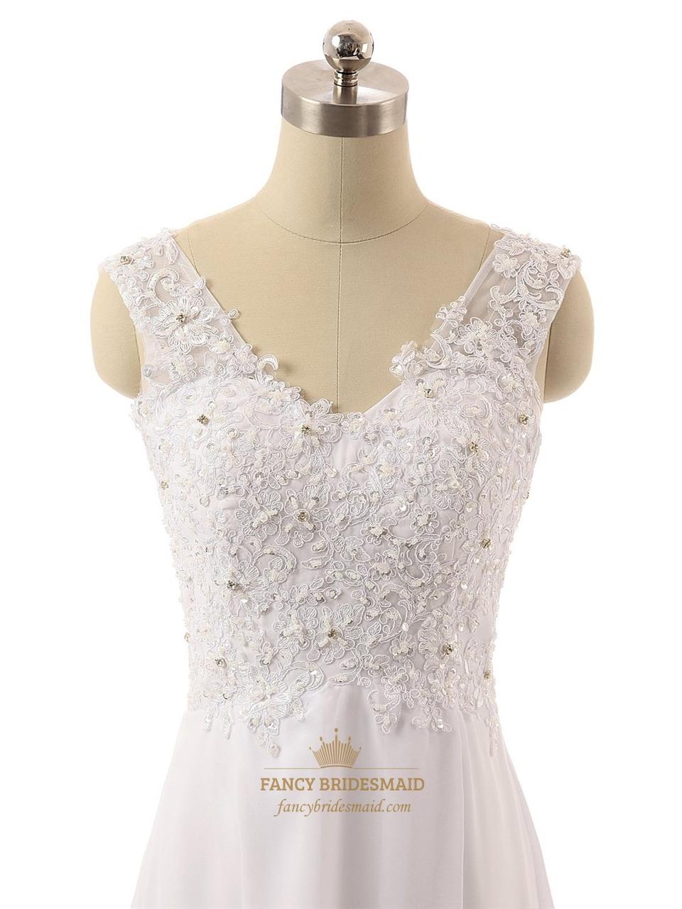 Long Strapless V Neck Lace Back Sheer Straps Wedding Dress