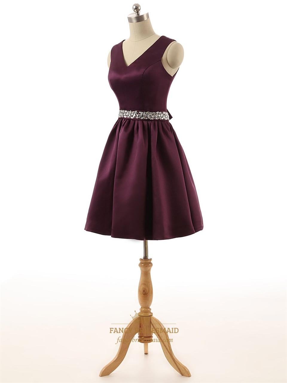 Short Burgundy Satin V Neck Keyhole Back Bridesmaid Dress