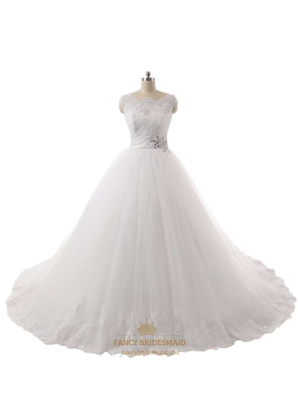 Clssic Ball Gown Sheer Cap Sleeves Lace Top Wedding Dress With ...