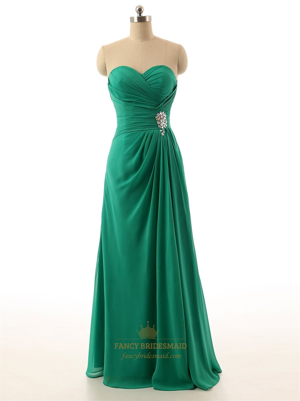 Emerald Green Strapless Sweetheart Neckline Chiffon