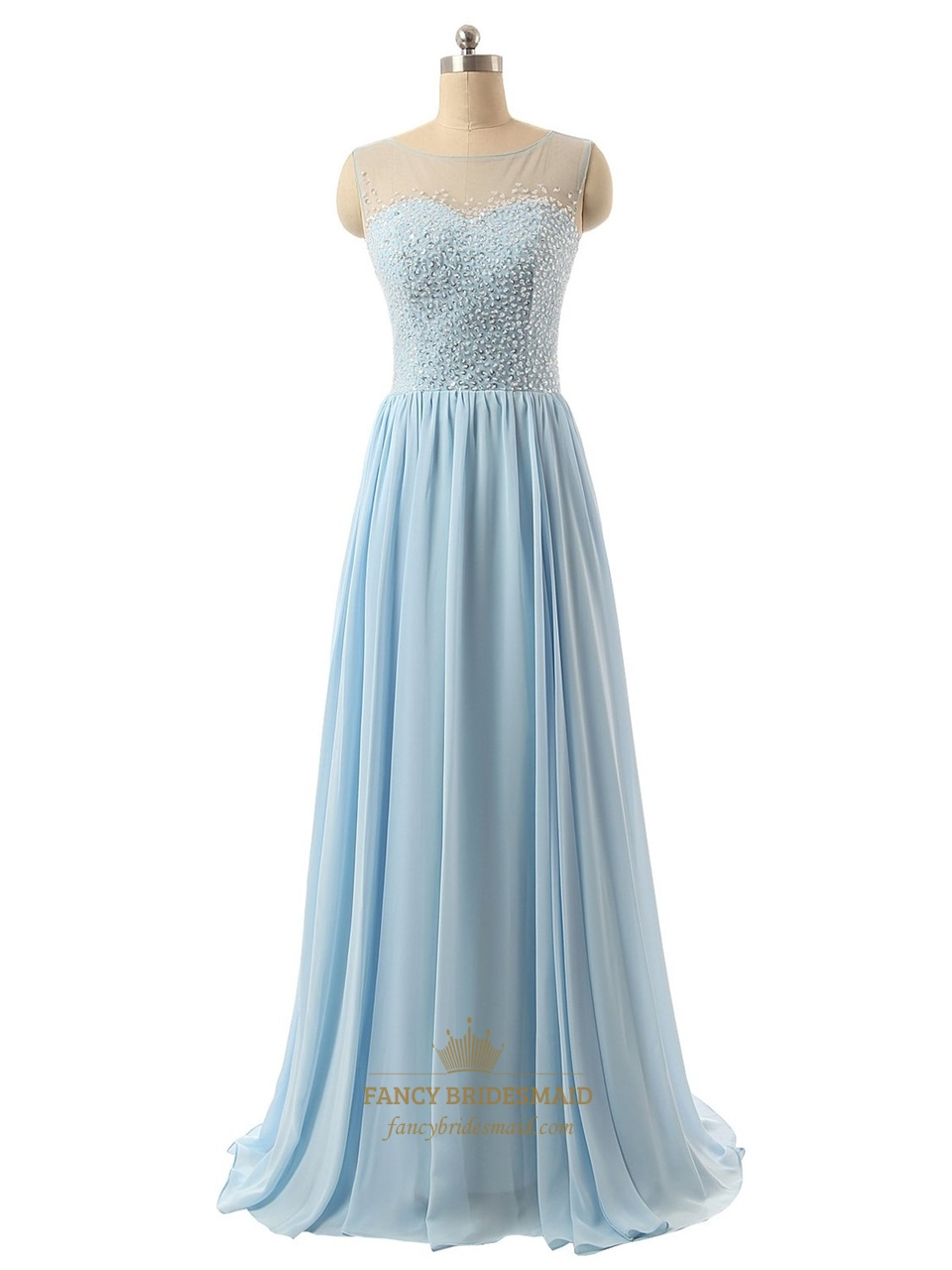 Light Blue Sequin Bodice Bridesmaid Dress With Beaded Illusion Neck