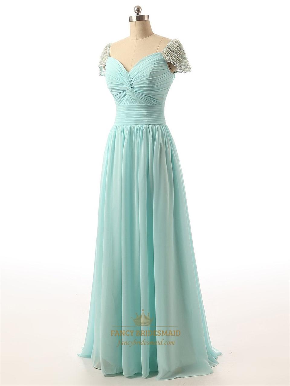 Cap Sleeve Bridesmaid Dresses Floor Length