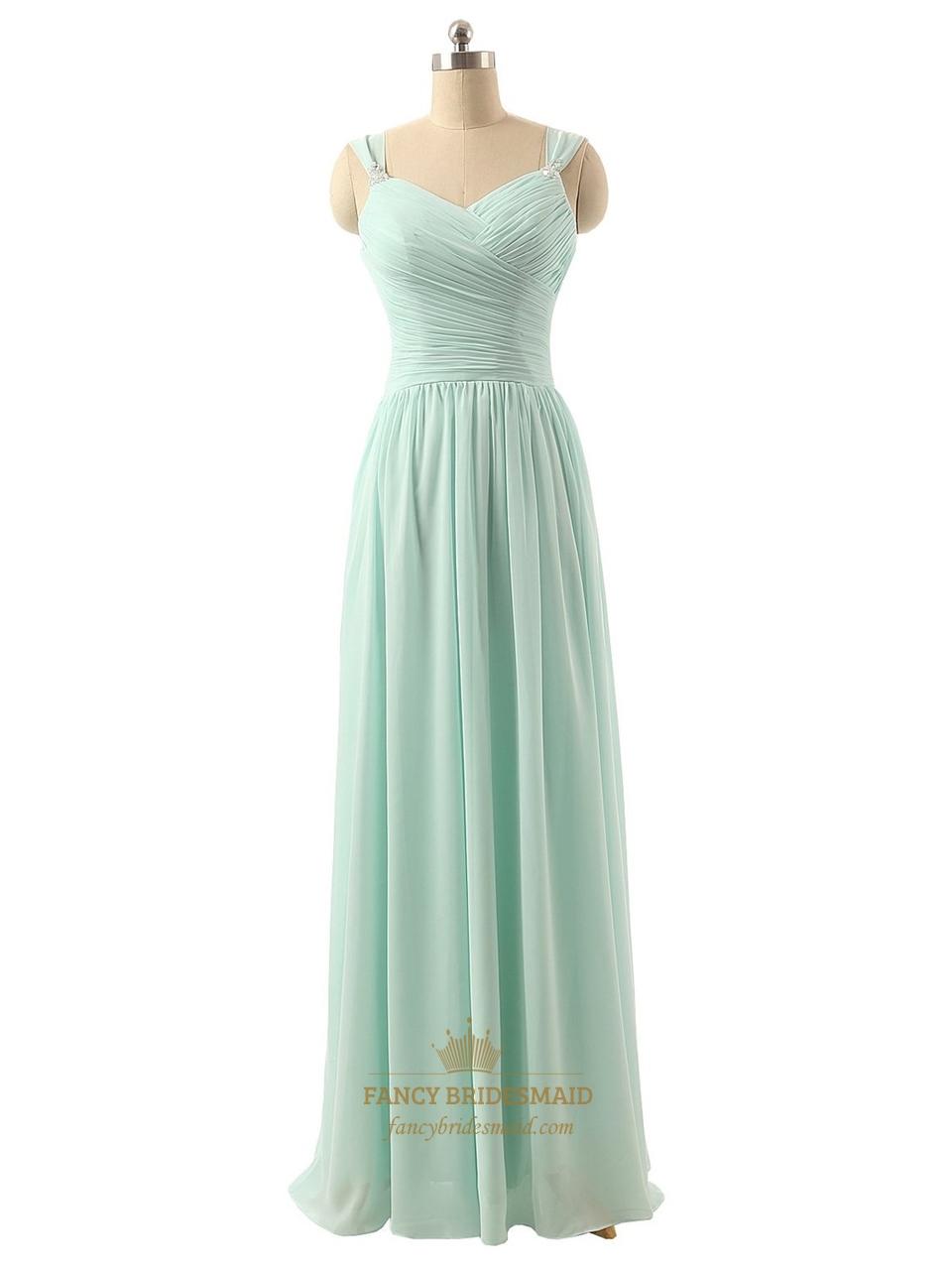 Light green chiffon sleeveless ruched bodice bridesmaid for Light green wedding dress