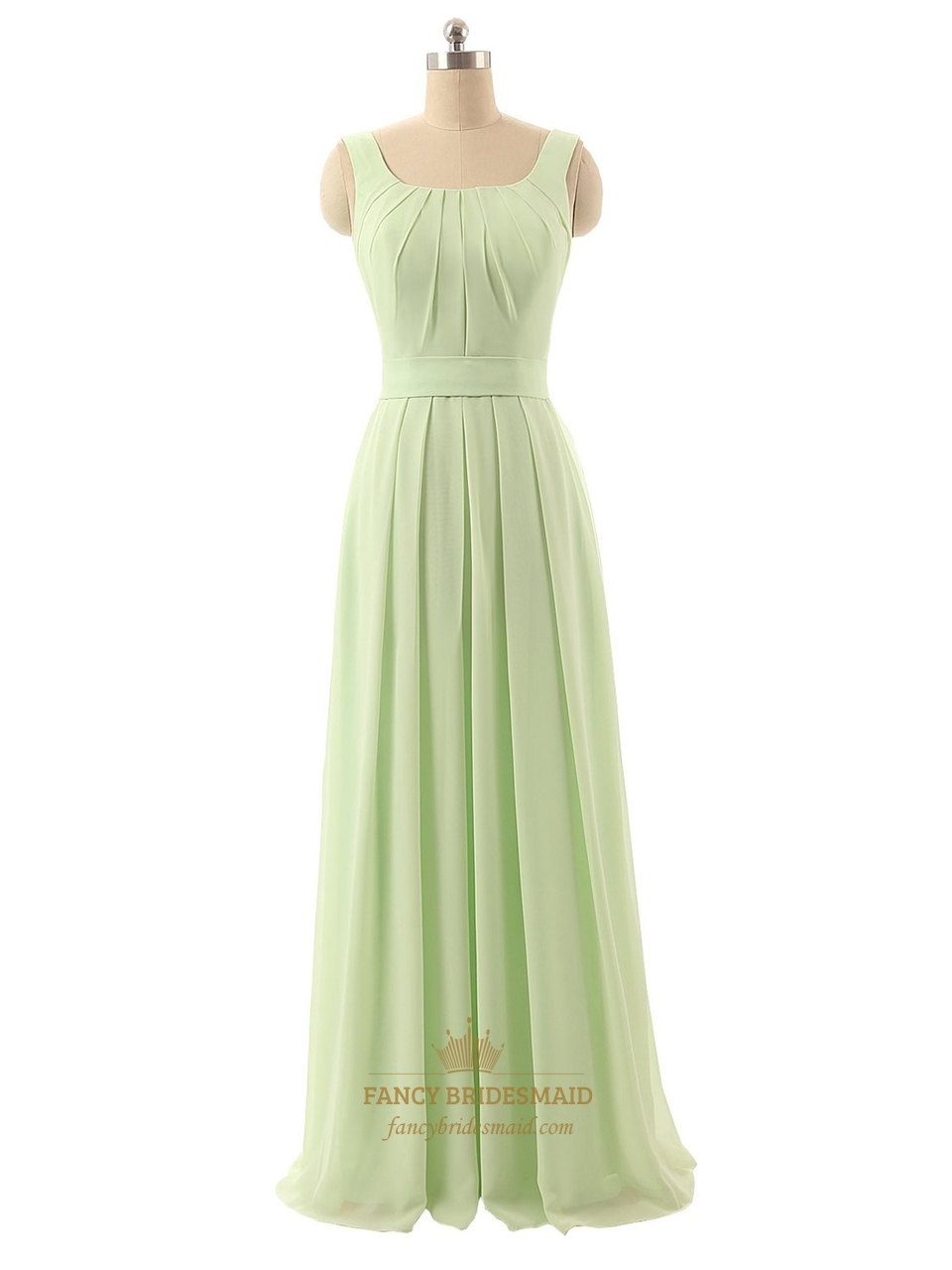 light green aline strapless ruffles floorlength chiffon