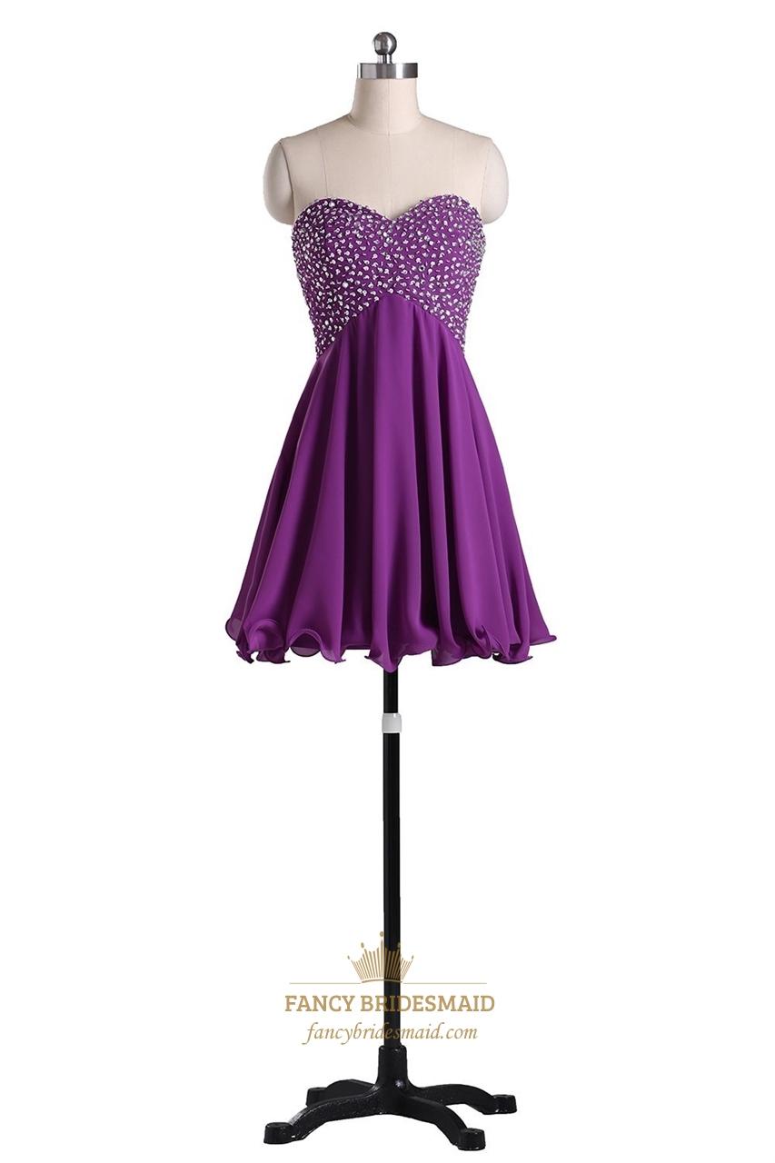 Purple strapless beaded bodice chiffon bridesmaid dress for Purple lace wedding dress