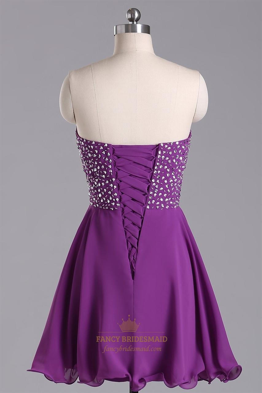 Purple Strapless Beaded Bodice Chiffon Bridesmaid Dress