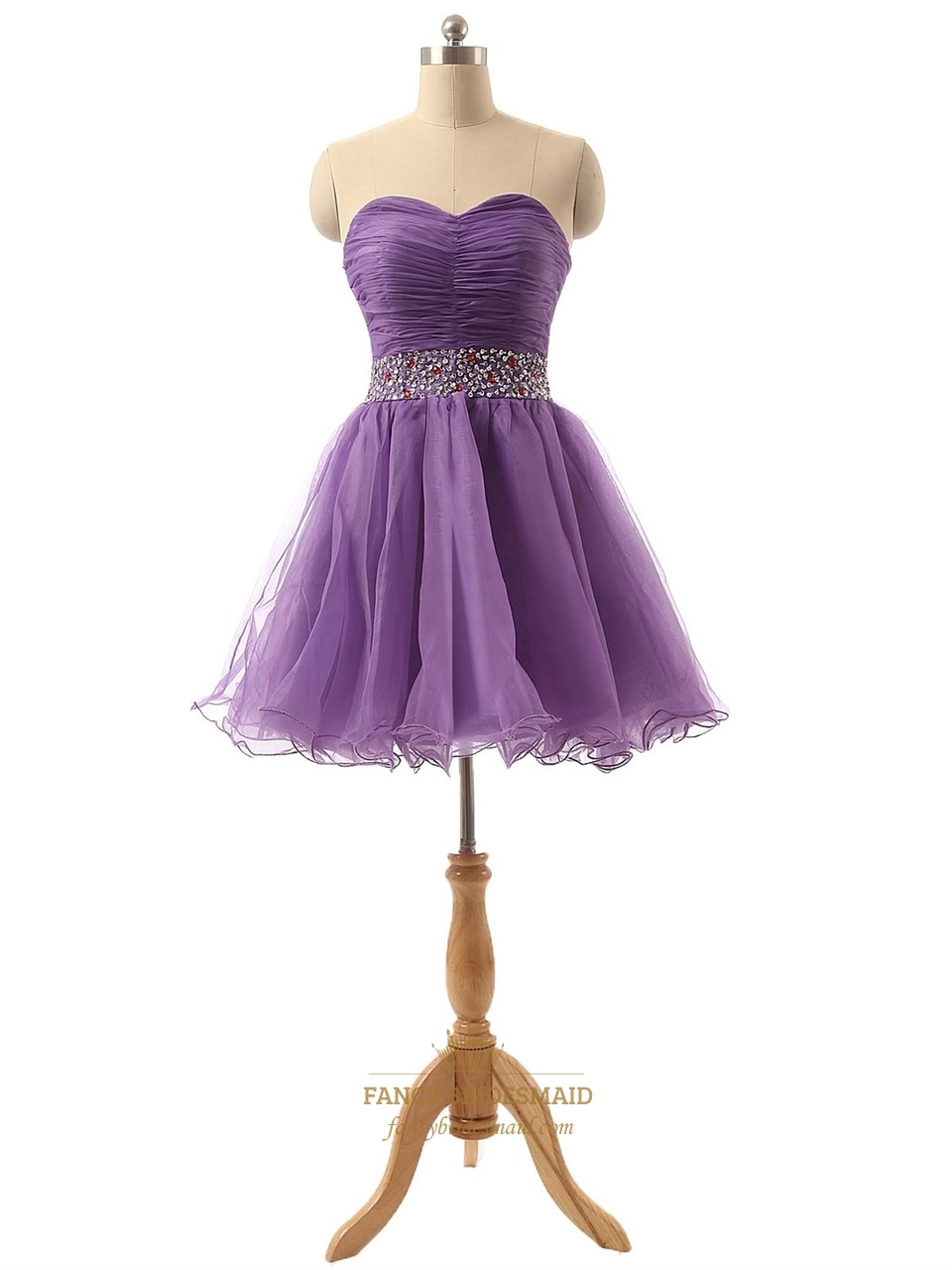 lavender short tulle pleated bodice bridesmaid dress with