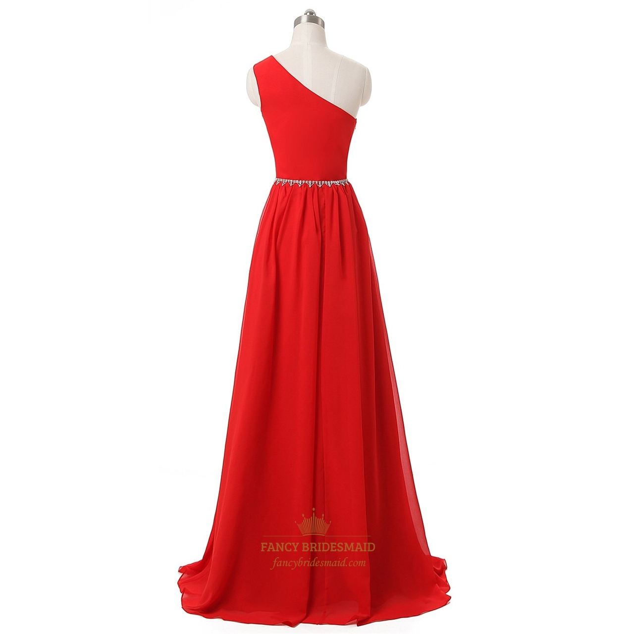 Red one shoulder a line chiffon floor length beaded prom for Floor length dresses
