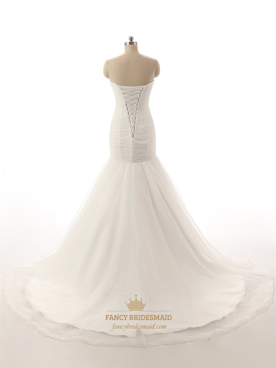 Ivory Strapless Drop Waist Mermaid Wedding Dress With