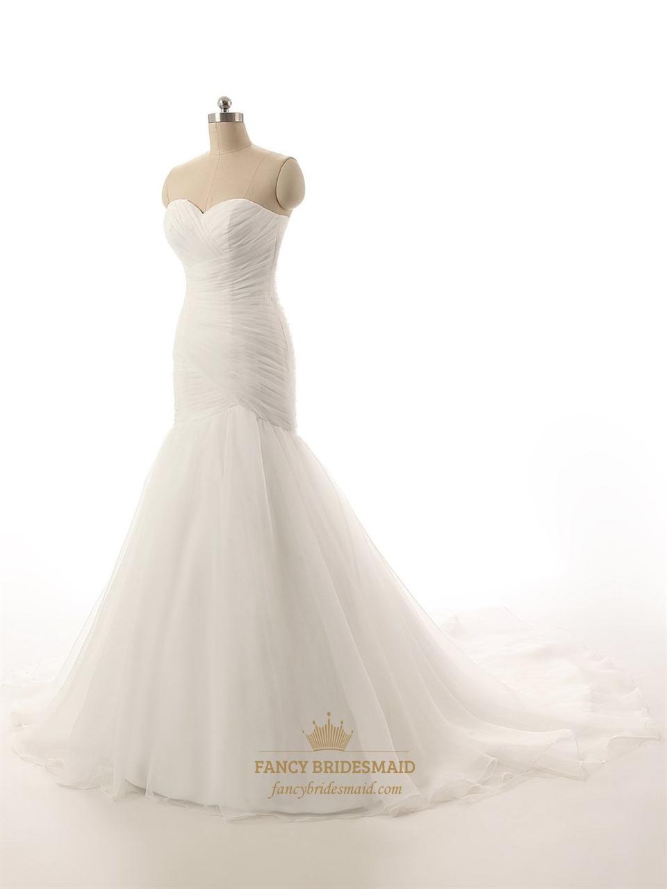 Mermaid Wedding Dress Train : Ivory strapless drop waist mermaid wedding dress with