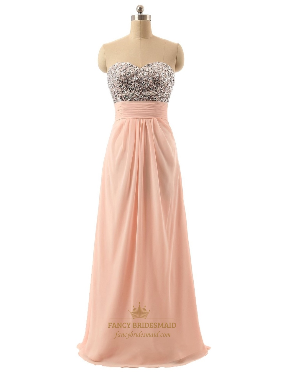 Coral strapless sweetheart neckline chiffon rhinestone for Strapless wedding dresses with bling