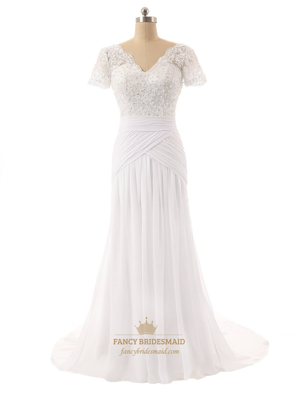 Lace Bodice V Neckline Short Sleeves Wedding Dress With