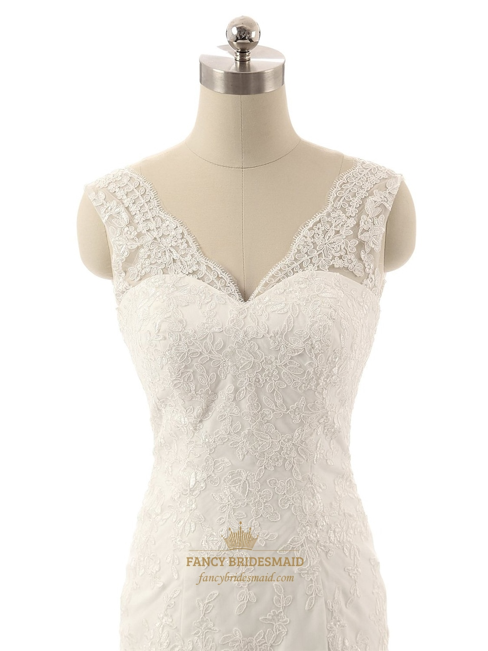 Ivory Lace Applique Mermaid V Neckline Wedding Dress With