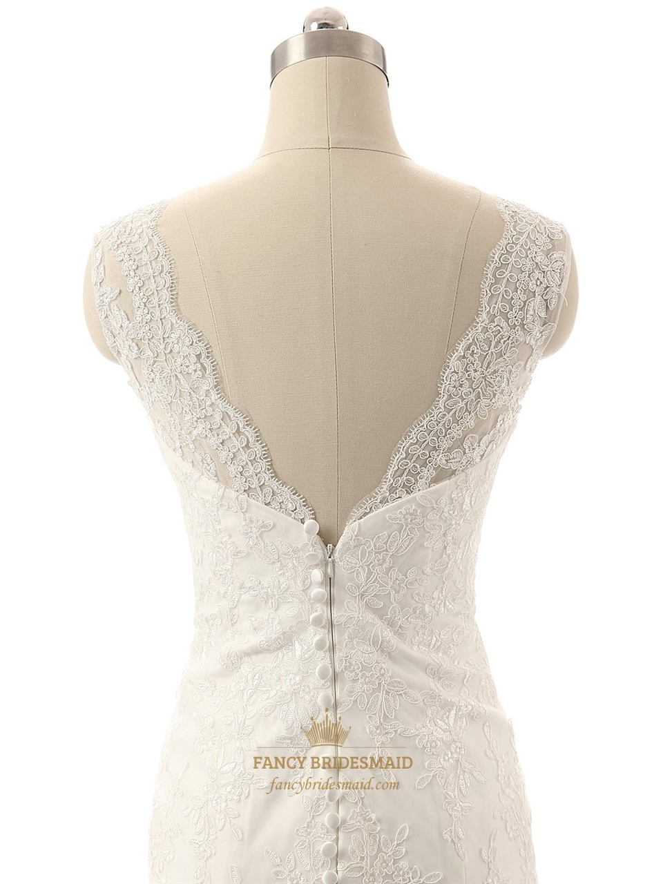 Mermaid Wedding Dress With Lace Straps : Ivory lace applique mermaid v neckline wedding dress with