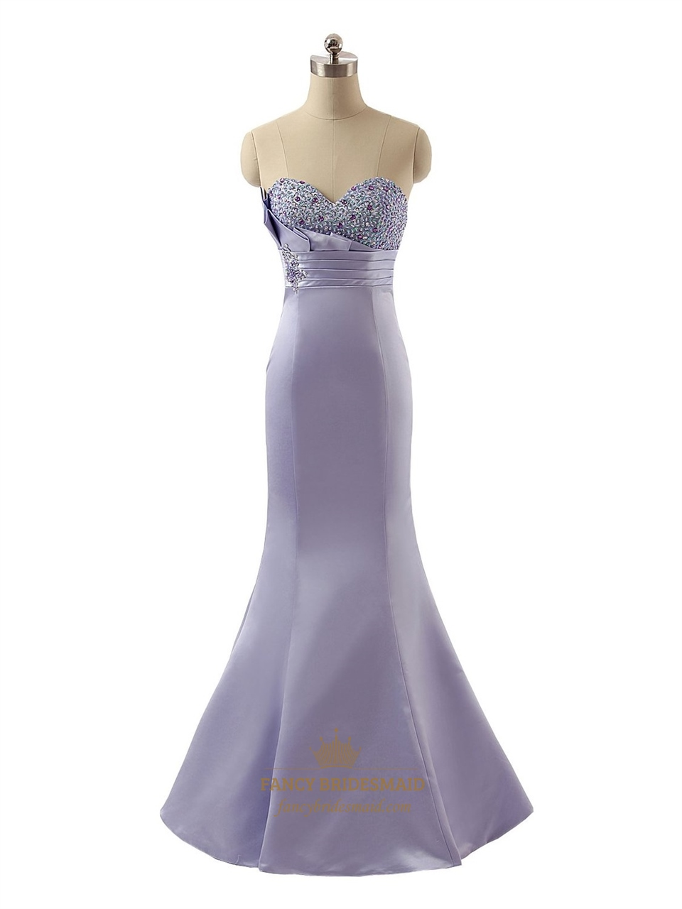 db0f790c009 Exquisite Lavender Strapless Satin Beaded Sweetheart Mermaid Prom Dress SKU  -P099