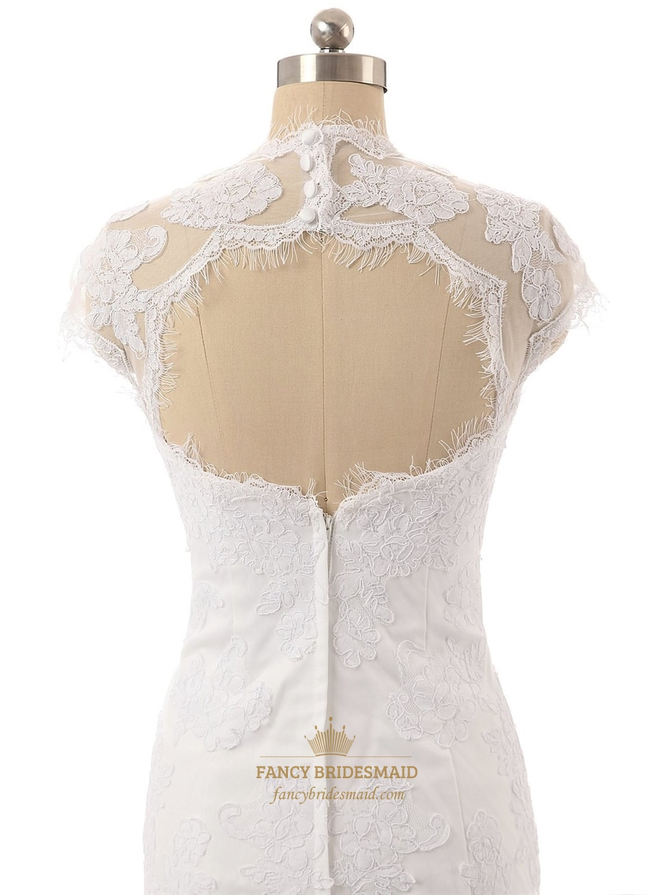 Wedding dress lace cap sleeve keyhole back discount for Lace cap sleeve keyhole back wedding dress