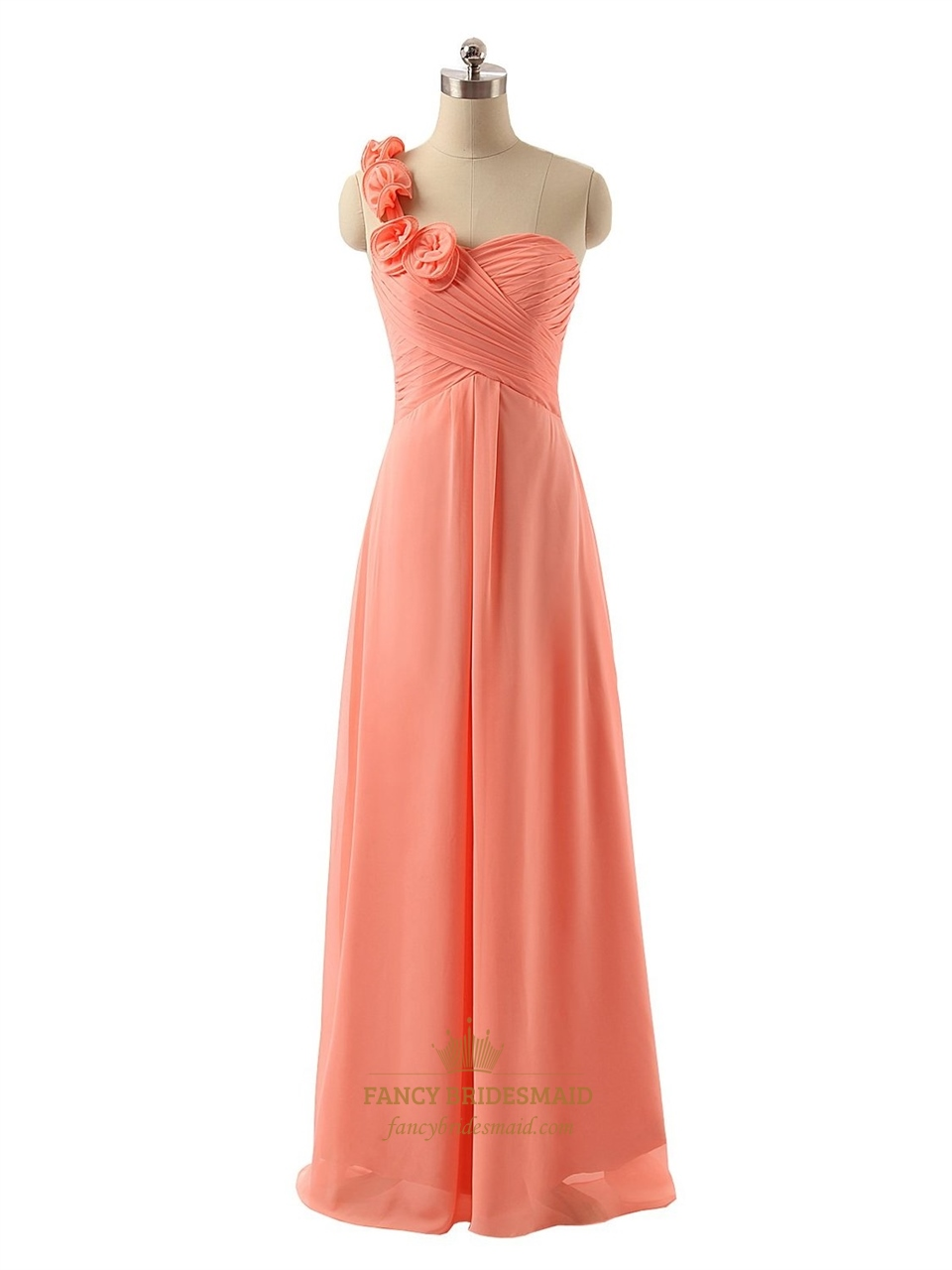 Coral Flower One Shoulder Ruched Bodice Chiffon Floor ...