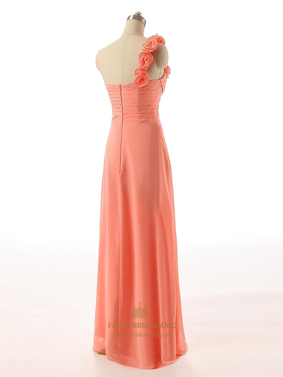 Coral flower one shoulder ruched bodice chiffon floor for Floor length dresses