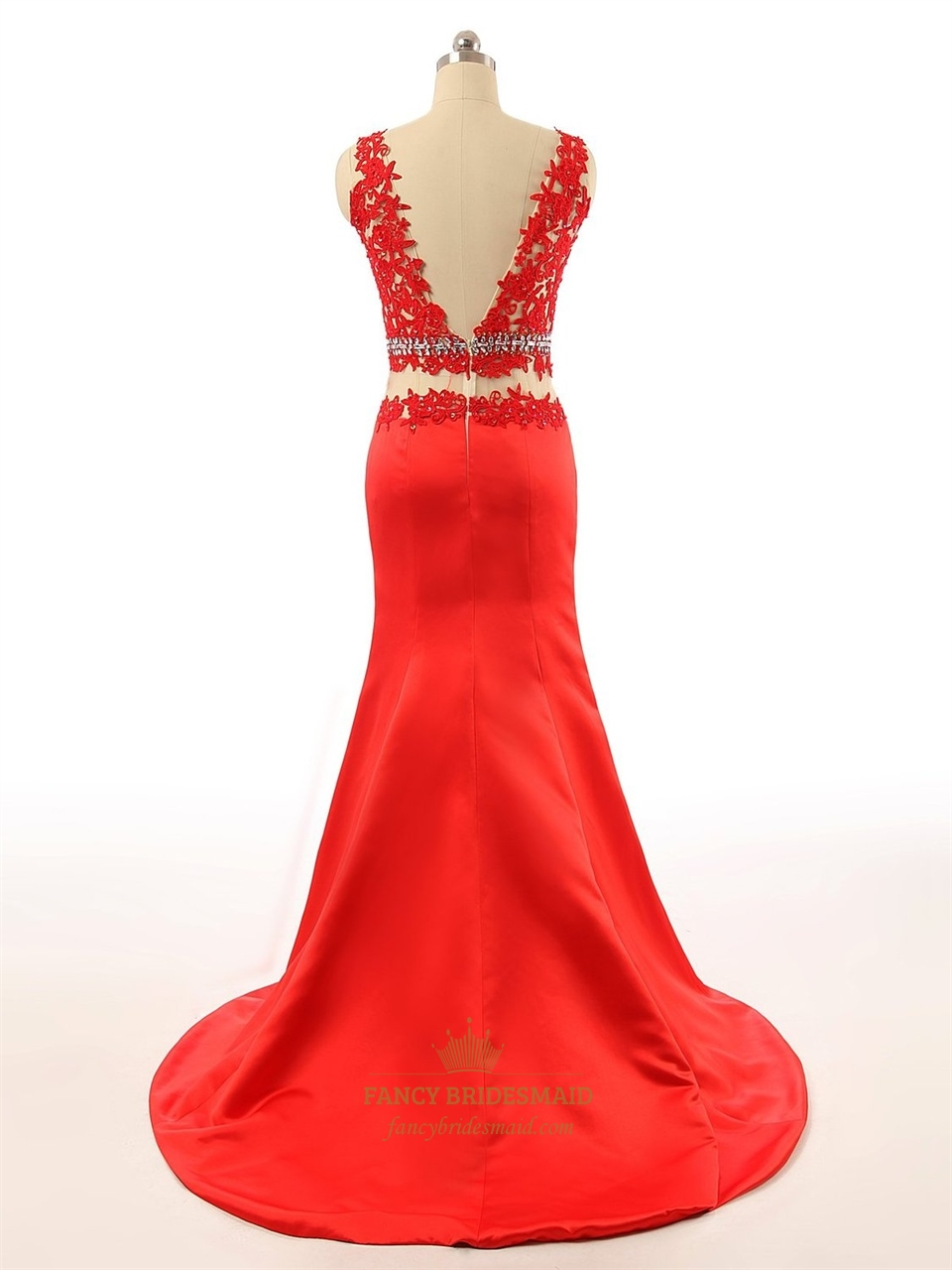Red Sleeveless Sheer Applique Bodice Tulle Mermaid Prom