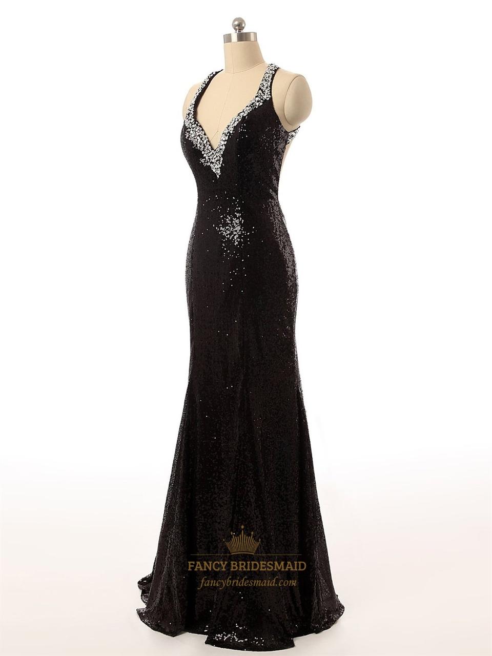 Black Sequin V Neck Beaded Straps Bodycon Mermaid Prom
